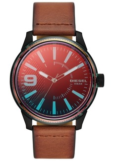 Diesel Men's Rasp Nsbb Brown Leather Strap Watch 46mm