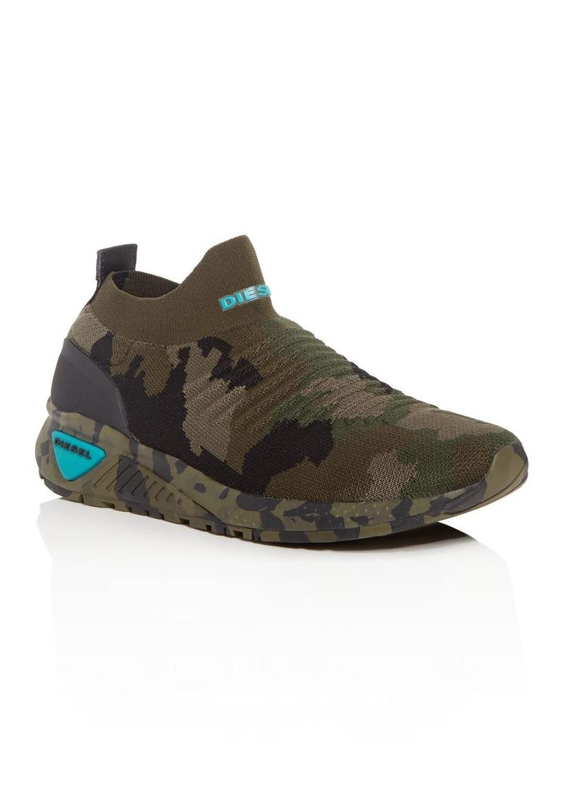 10d6ce3027772 Diesel Diesel Men's S-KB Camo Print Knit Mid-Top Sneakers Now $178.20