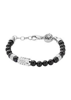 Diesel Men's Silver Tone and Black Agate Stainless-Steel Beaded Bracelet