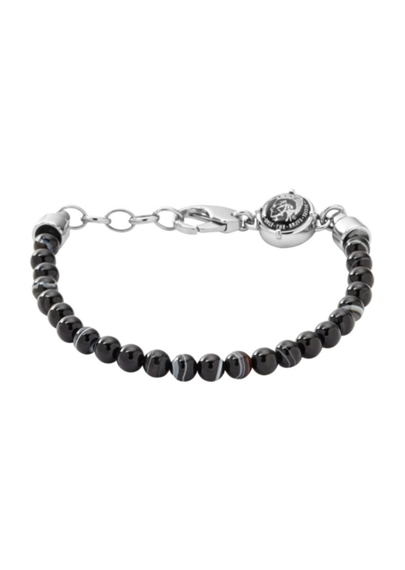 Diesel Men's Silver Tone Stainless-Steel Beaded Bracelet