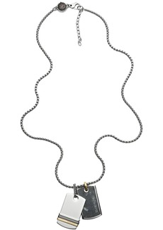 Diesel Men's Stainless Steel and Labradorite Stone Necklace