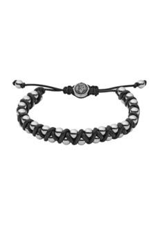 Diesel Men's Stainless-Steel Bead and Black Leather Bracelet