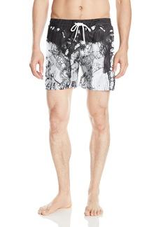 Diesel Men's Wave 6 Inch Pattern Swim Trunk White