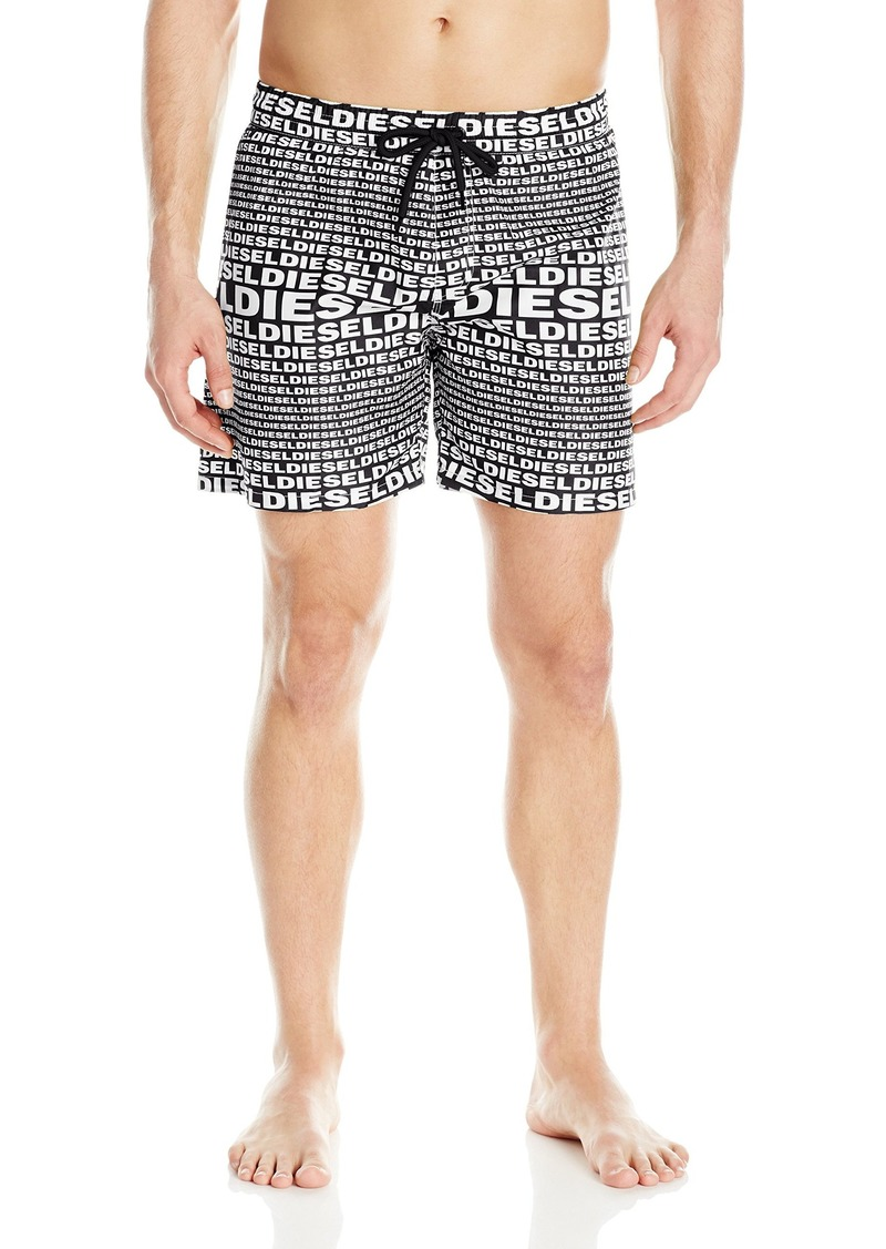 e050891142 Diesel Men's Wave All Over Logo 16inch Swim Trunk White/Black Allover Print
