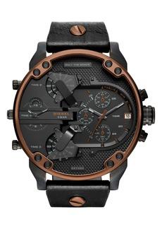 DIESEL® Mr. Daddy 2.0 Chronograph Leather Strap Watch, 57mm