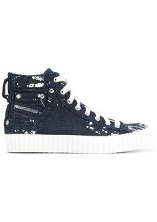 Diesel paint splatter denim sneakers - Blue