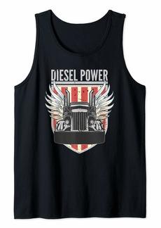 Diesel Power   Truck Turbo Mechanic Pride American Flag Tank Top