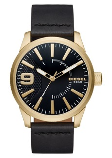 DIESEL® Rasp Leather Strap Watch, 46mm