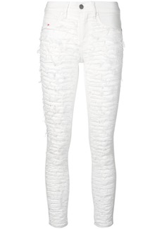 Diesel ripped front skinny trousers - White