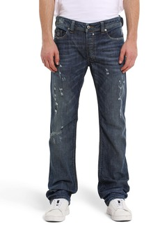 DIESEL® Safado Distressed Slim Straight Leg Jeans (Med Blue Distressed)