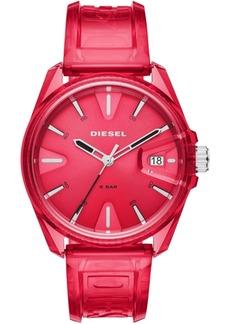 Diesel Unisex MS9 Red Transparent Polyurethane Strap Watch 44mm