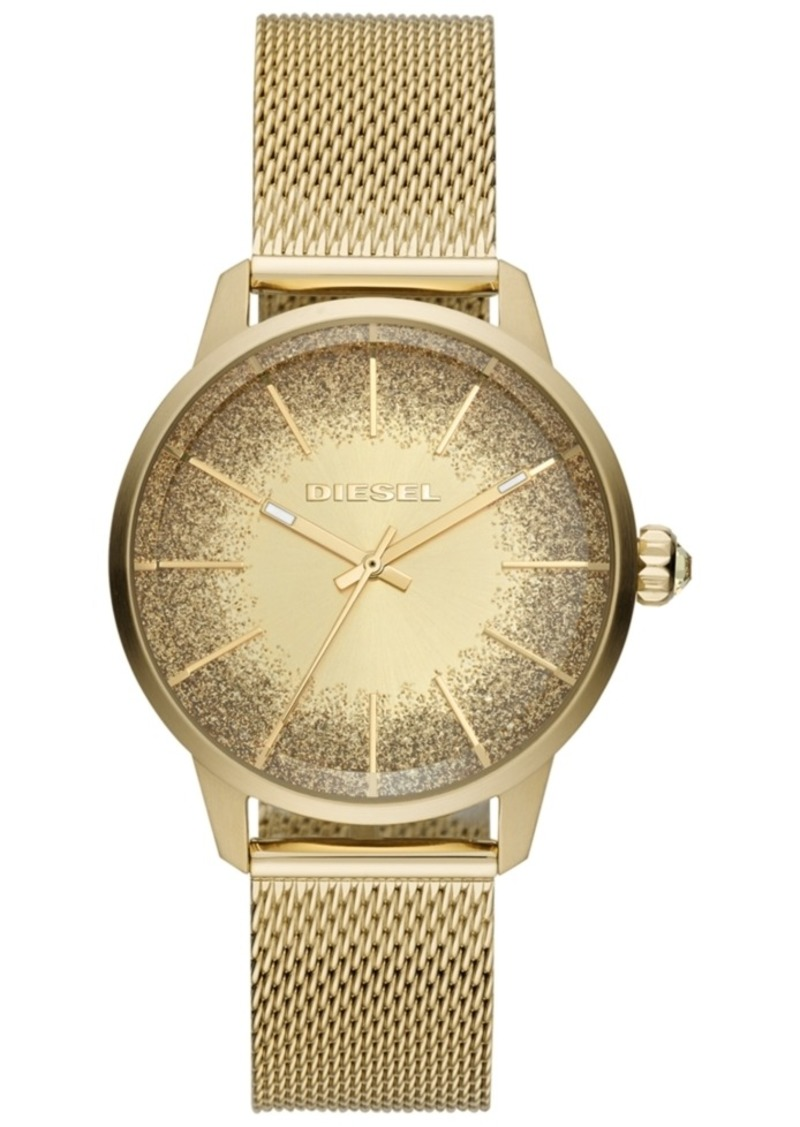 Diesel Women's Castilla Gold-Tone Stainless Steel Mesh Bracelet Watch 38mm