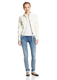 Diesel Women's L-Zeta Leather Jacket Off-White