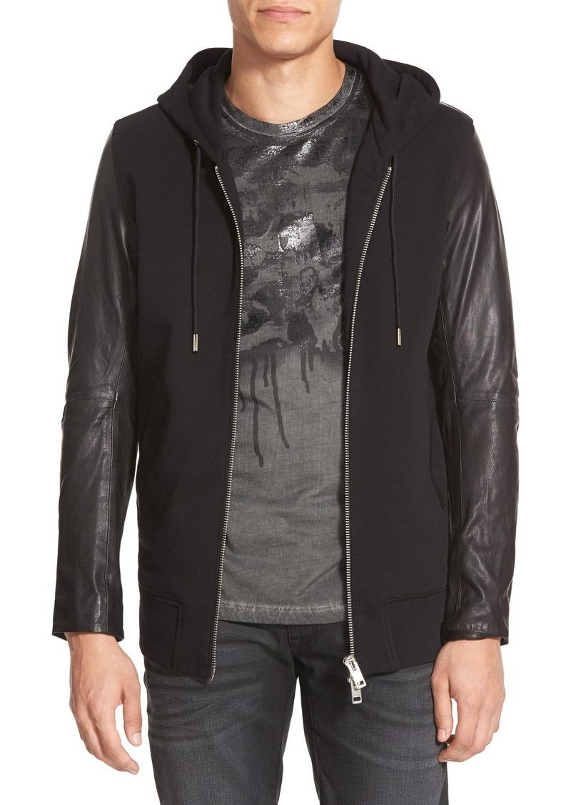 Diesel hooded leather jacket