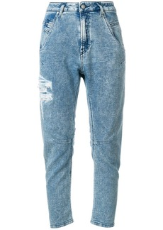 Diesel distressed cropped tapered jeans