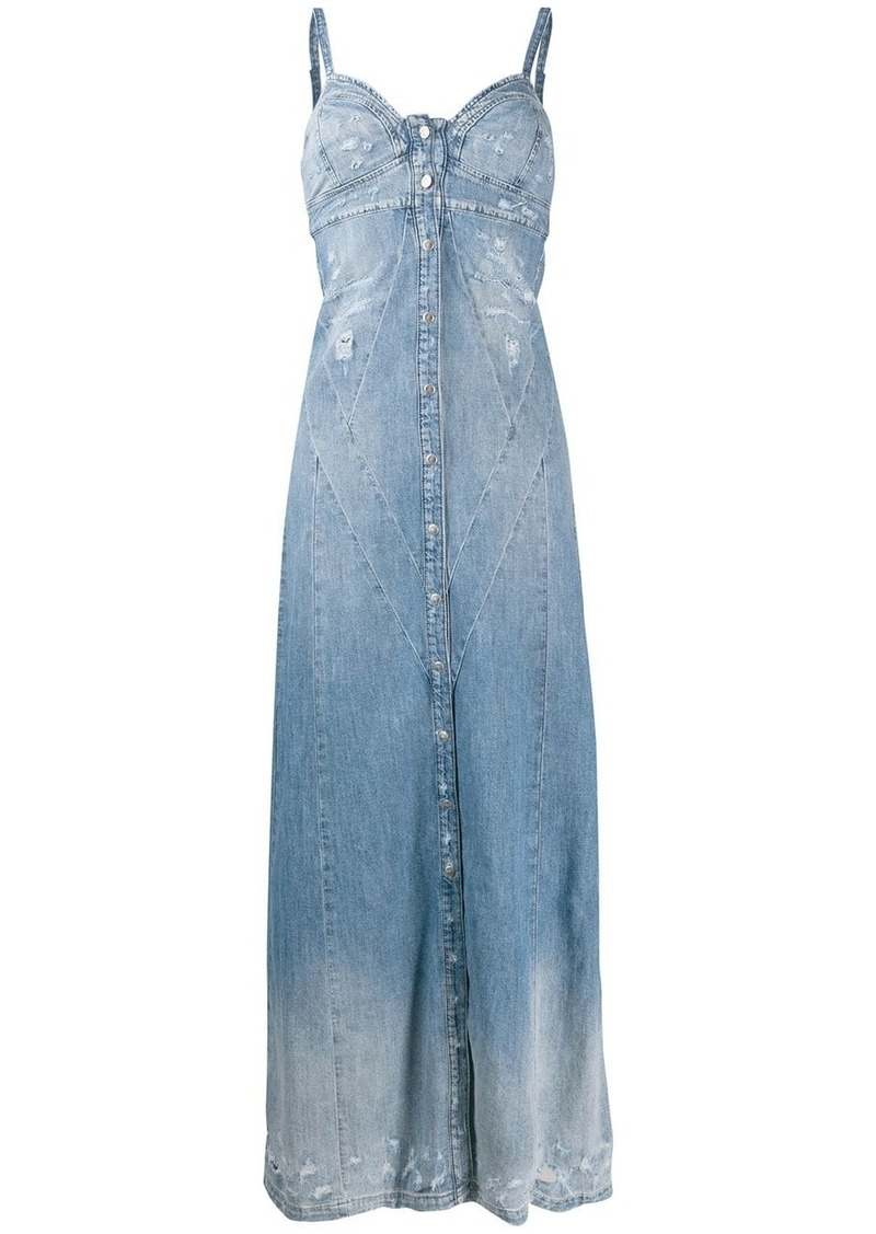 Diesel distressed denim maxi dress