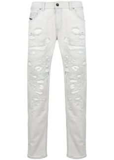 Diesel distressed denim slim fit five-pocket jeans