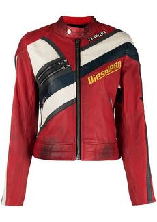 Diesel distressed-effect biker jacket