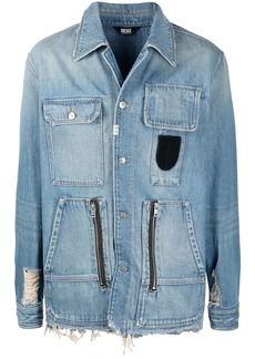Diesel distressed-effect button-up overshirt