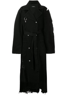 Diesel distressed long trench coat
