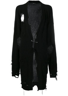Diesel distressed longline cardigan