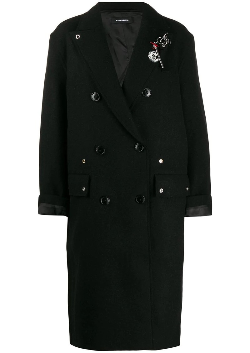 Diesel embellished double-breasted coat