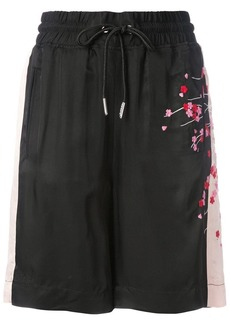 Diesel embroidered blossom track shorts