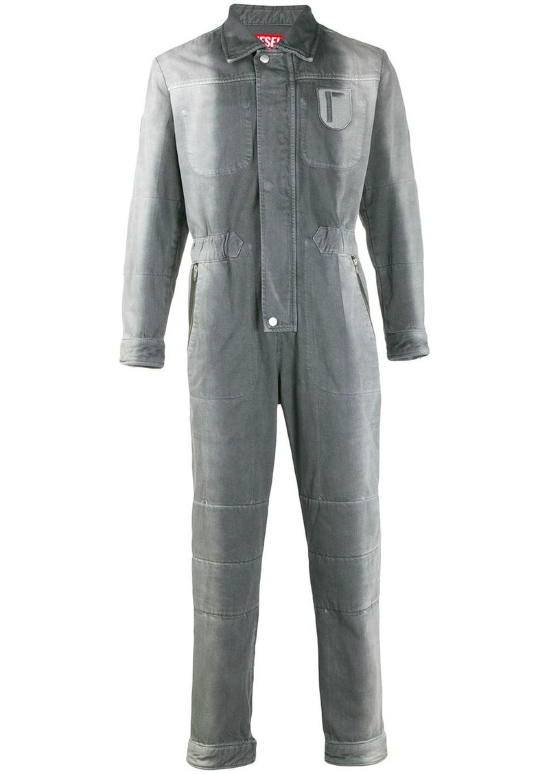 Diesel two-tone faded denim jumpsuit