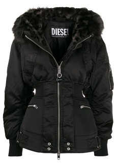 Diesel faux-fur trim hooded jacket