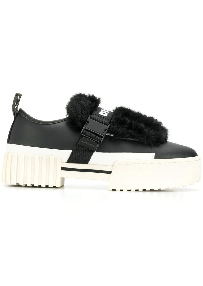 Diesel faux fur trim sneakers