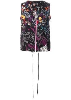 Diesel floral zip-up vest
