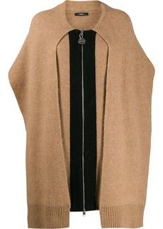 Diesel fringed sleeve cardi-coat