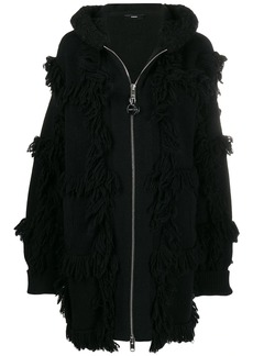 Diesel fringed zip-up jacket