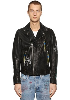 Diesel Graffiti Painted Leather Biker Jacket