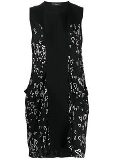 Diesel heart print contrast panel dress