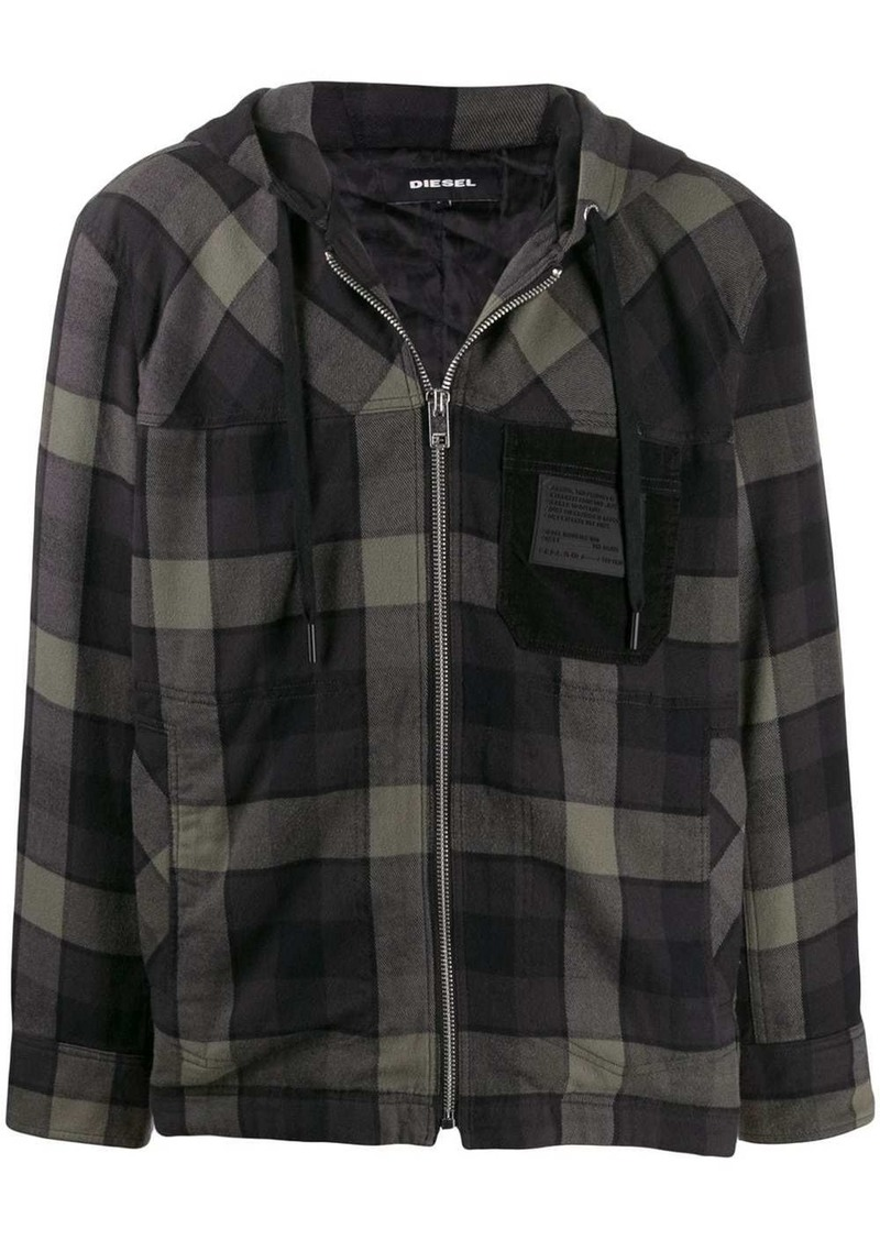 Diesel hooded check print jacket