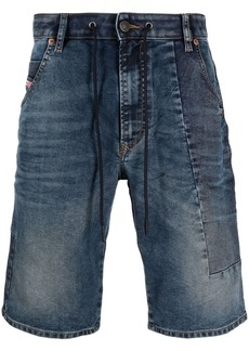 Diesel knee-length patchwork denim shorts