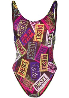 Diesel label print swimsuit