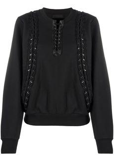 Diesel lace-up rib-trimmed sweatshirt
