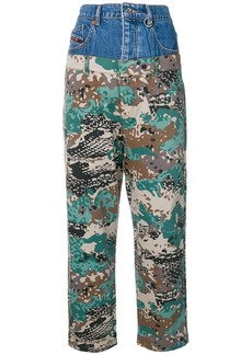 Diesel layered camouflage trousers