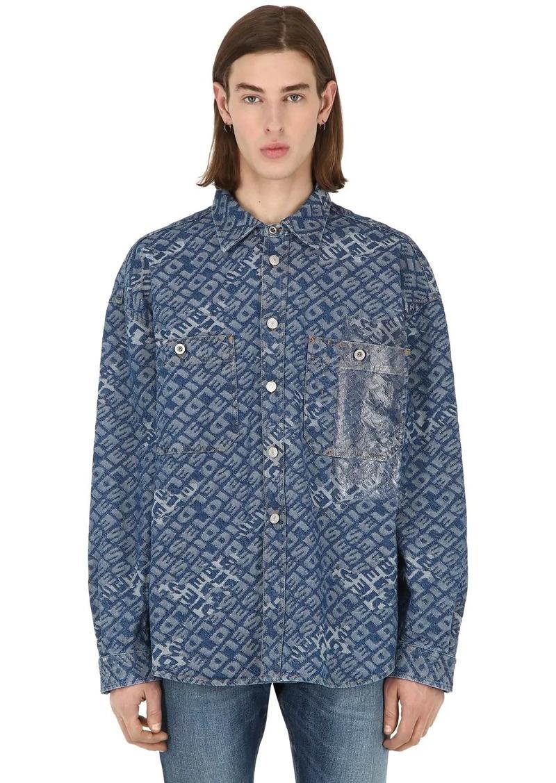 Diesel Logo Jacquard Cotton Denim Shirt