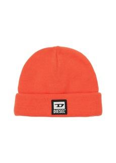 Diesel Logo Patch Tech Beanie Knit Hat