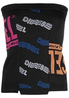 Diesel logo strapless knit top