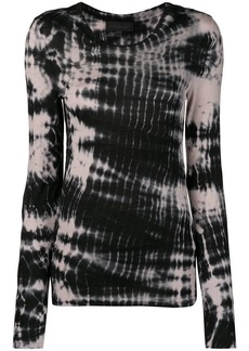 Diesel long-sleeve T-shirt with tie-dyed stripes