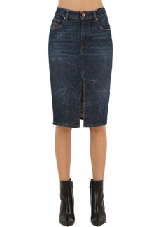 Diesel Longuette Mid Rise Cotton Denim Skirt