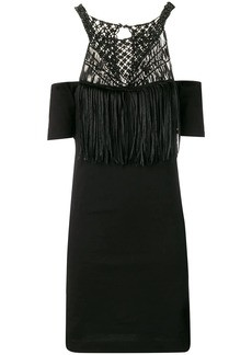 Diesel macramé cold shoulder dress
