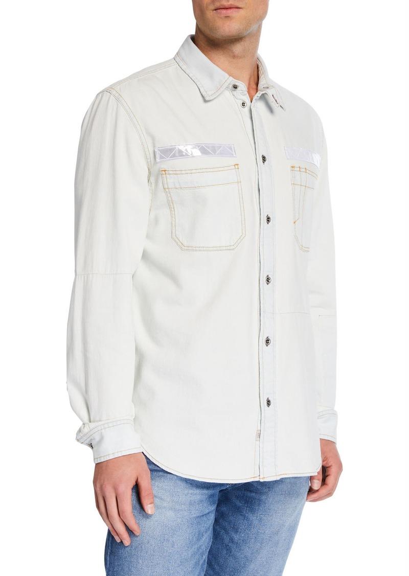 Diesel Men's Fred Reflective-Trim Denim Sport Shirt