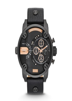 Diesel Men's Little Daddy Chronograph Leather Strap Watch, 51mm