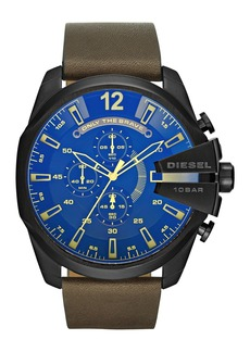 Diesel Men's Mega Chief Chronograph Leather Strap Watch, 51mm