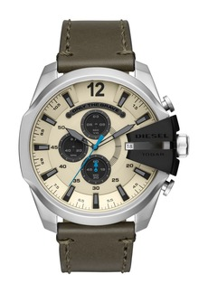Diesel Men's Mega Chief Stainless-Steel and Olive Leather Chronograph Watch, 51mm